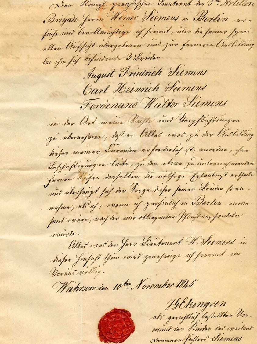 Vollmacht für die Vormundschaft, 1845