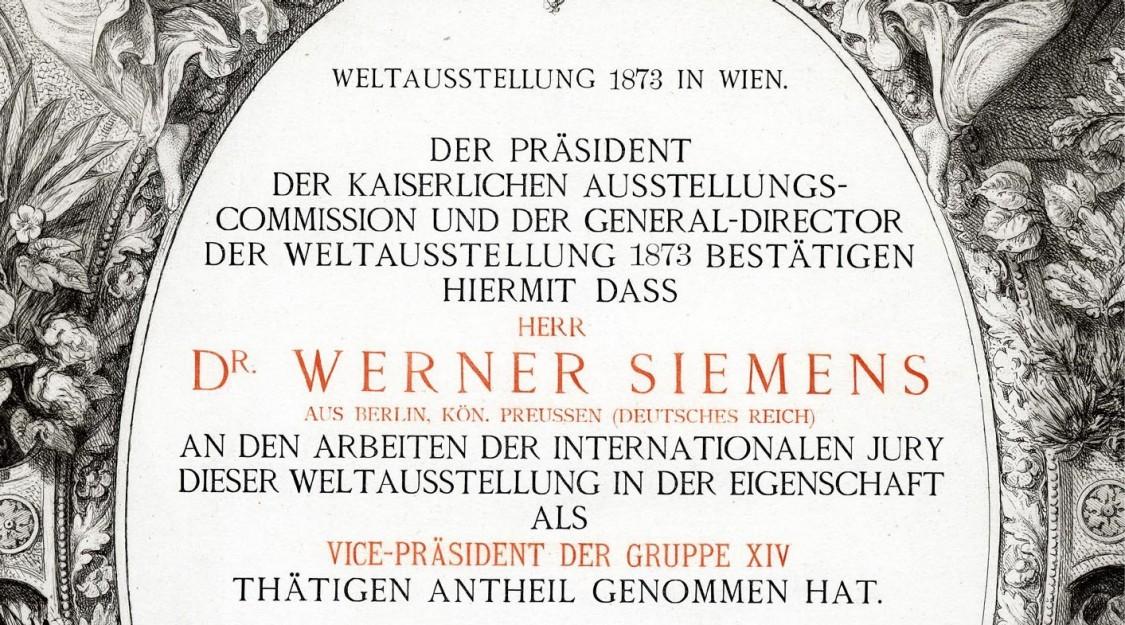 Urkunde über die Tätigkeit Werner von Siemens' als Vice-Präsident der Gruppe XIV, 1873
