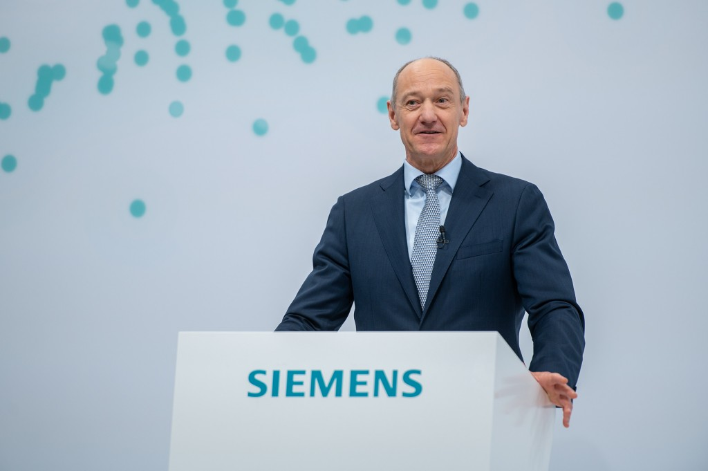 Roland Busch, the designated President and CEO of Siemens AG, during his speech at the 55th Annual Shareholders' Meeting, which is being held as a virtual event and broadcast from the company's headquarters in Munich on February 3, 2021.