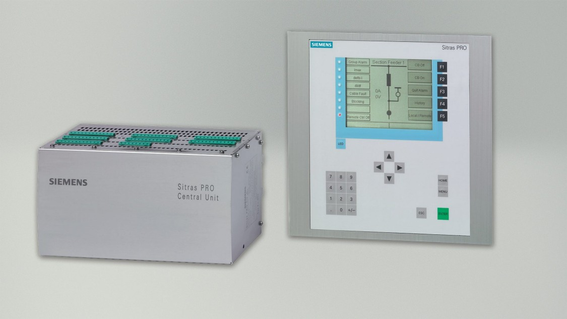 Unidade de proteção combinada Sitras PRO e controlador da Siemens para fonte de alimentação de tração CC.