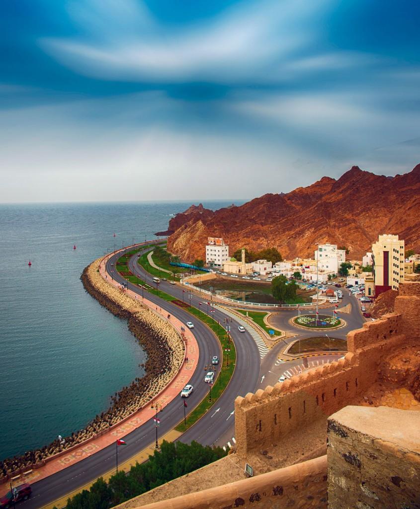 Landscape of Mutrah Corniche in Muscat, Oman