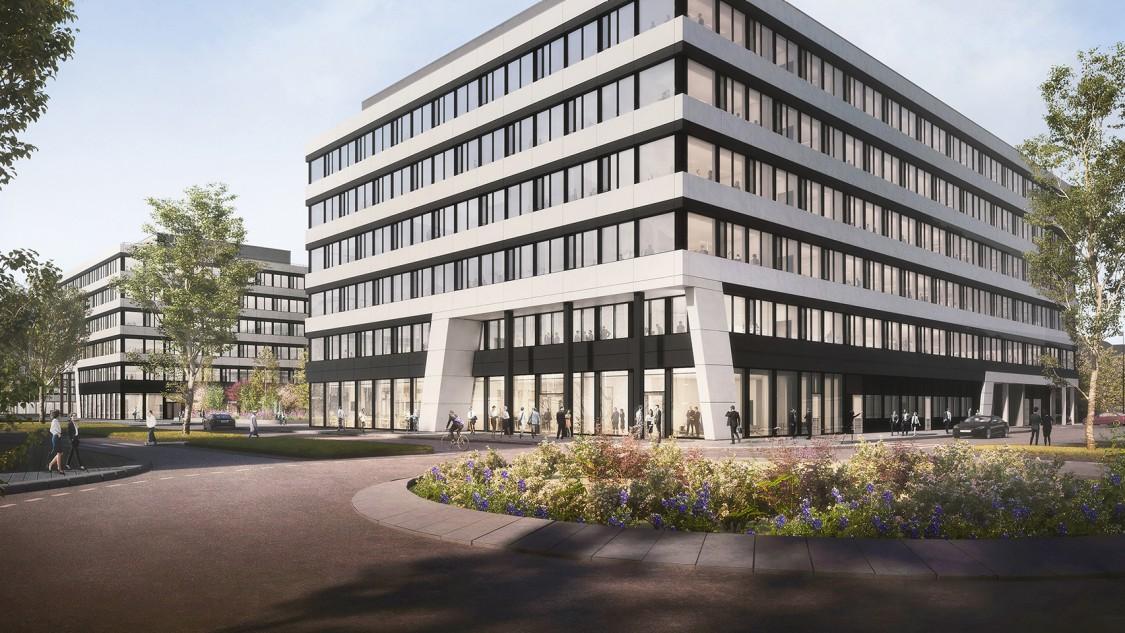 The Move Blue - Rendering des Bürogebäude von außen mit Blumeninsel im Vordergrund