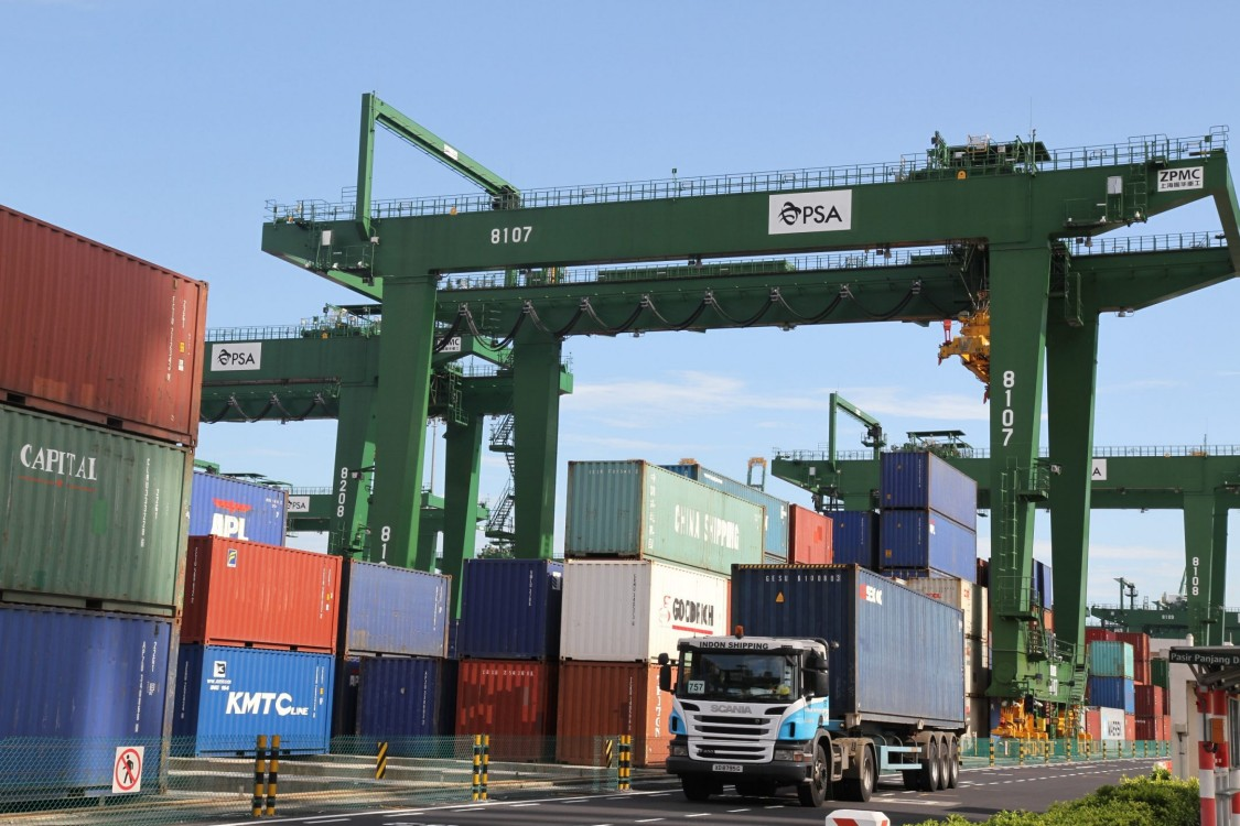 Container transshipment port in Singapore