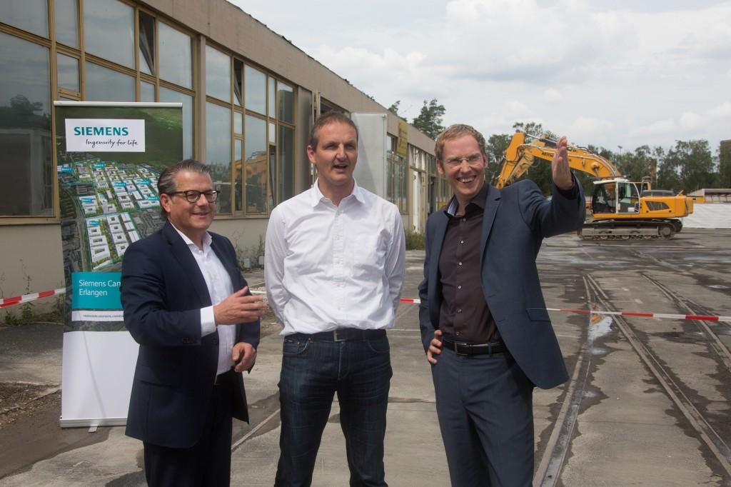 Startschuss Siemens Campus Erlangen: Einreißen der ersten Mauer