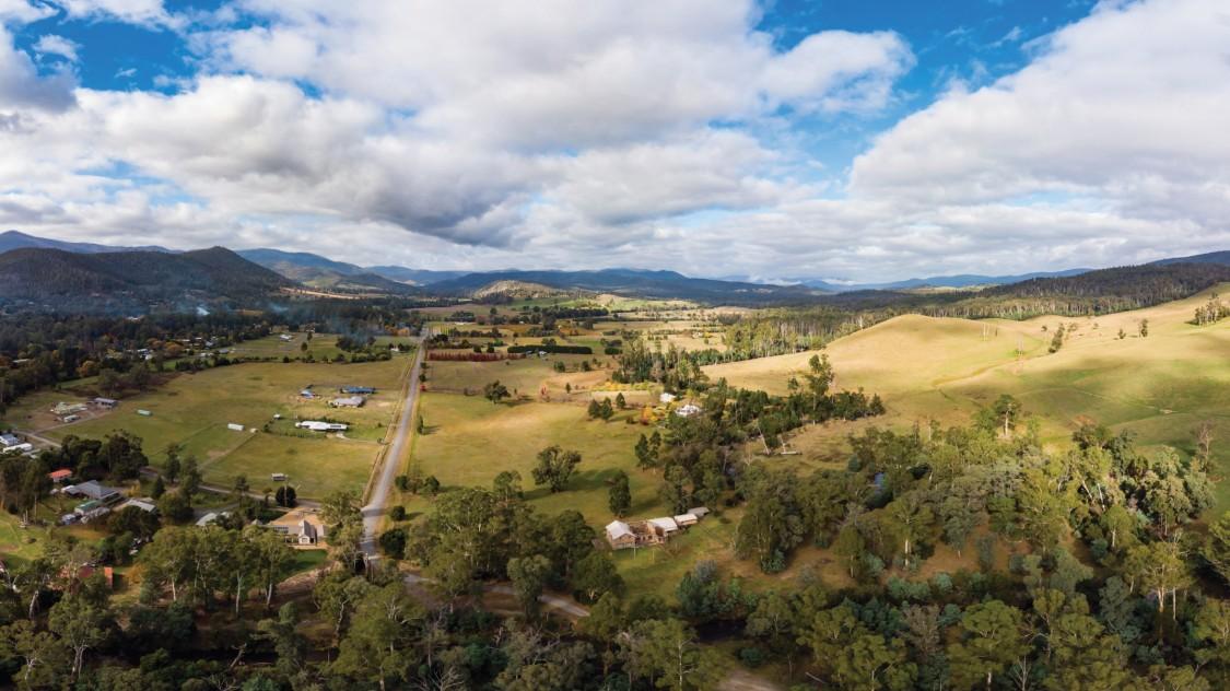Aerial view of rural village