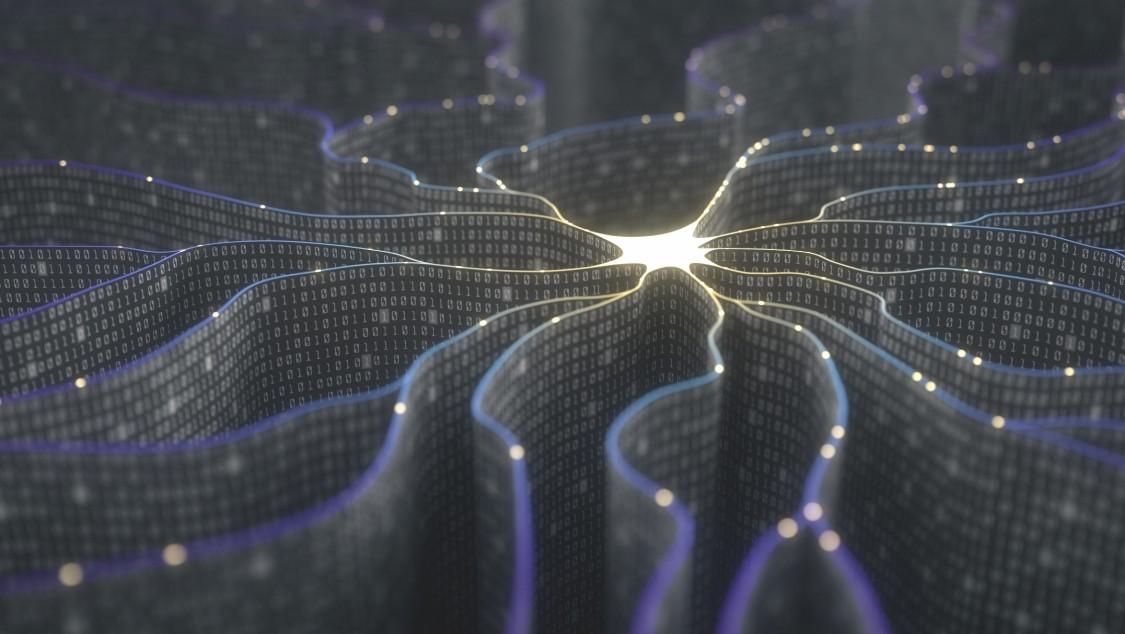 Stilisierte Darstellung eines neuronalen Netzwerkes, das in einem Lichtpunkt zusammenläuft.
