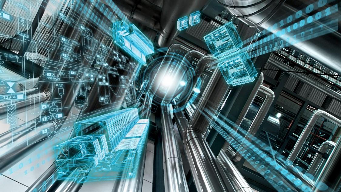 Eine Anlage von unten nach oben fotografiert, die symbolisiert, wie das Prozessleitsystem SIMATIC PCS 7 V9.0 Raum für neue Perspektiven eröffnet durch Digitalisierung bis in die Feldebene – zusätzlich visualisiert mittels eines blauen digitalen Layer.