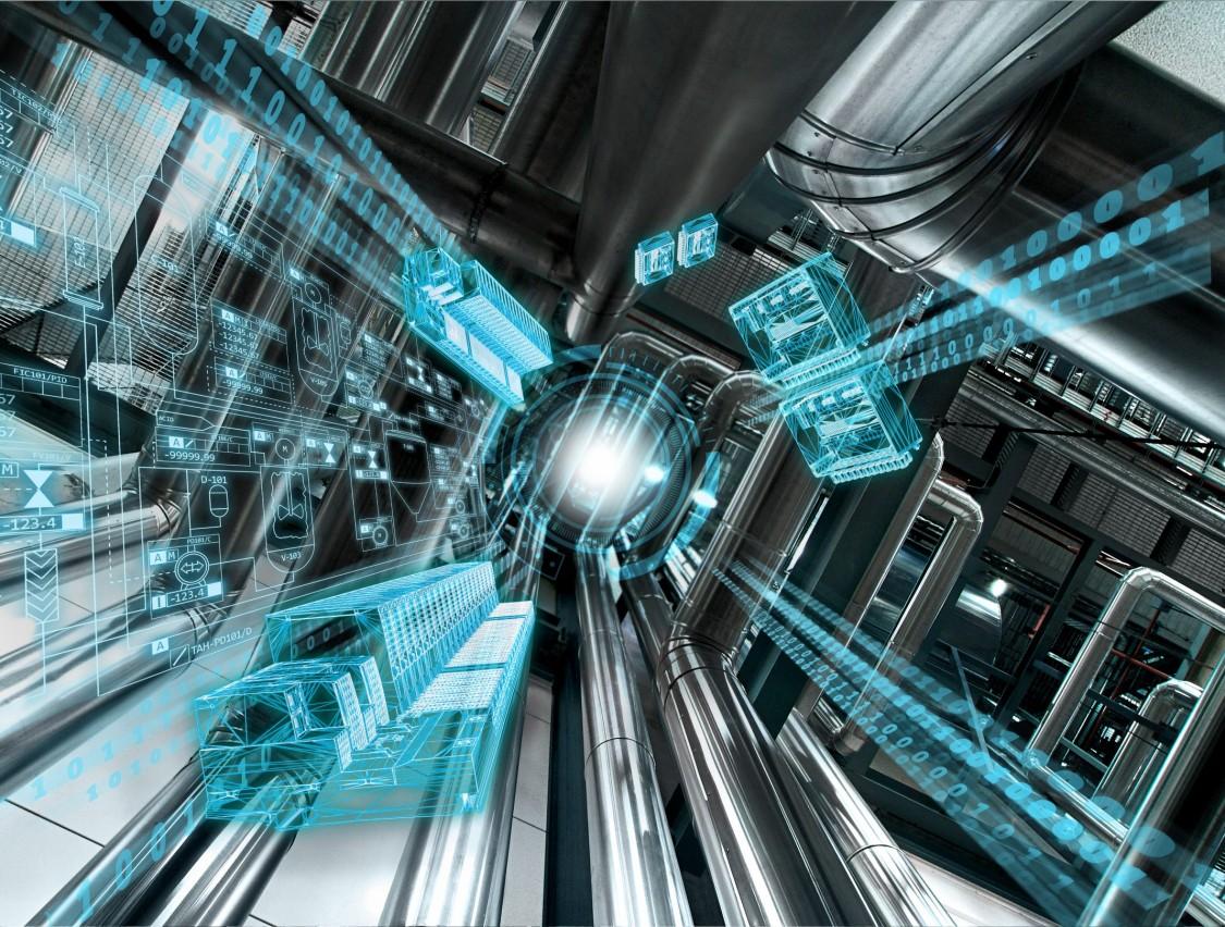 La imagen estilizada del funcionamiento interno de un panel de control. Cuatro bandas amarillas que visualizan el flujo de datos entre los componentes corren a través de la brecha entre el hardware en los lados izquierdo y derecho.