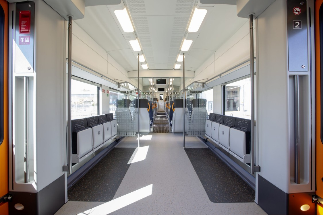 View into the bicycle compartment of the Desiro HC.