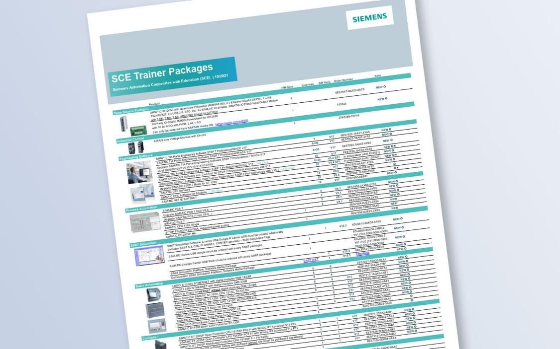 Die Liste für SCE Trainer Pakete enthält vorkonfigurierte Hard- und Softwarepakete zu Ausbildungspreisen.