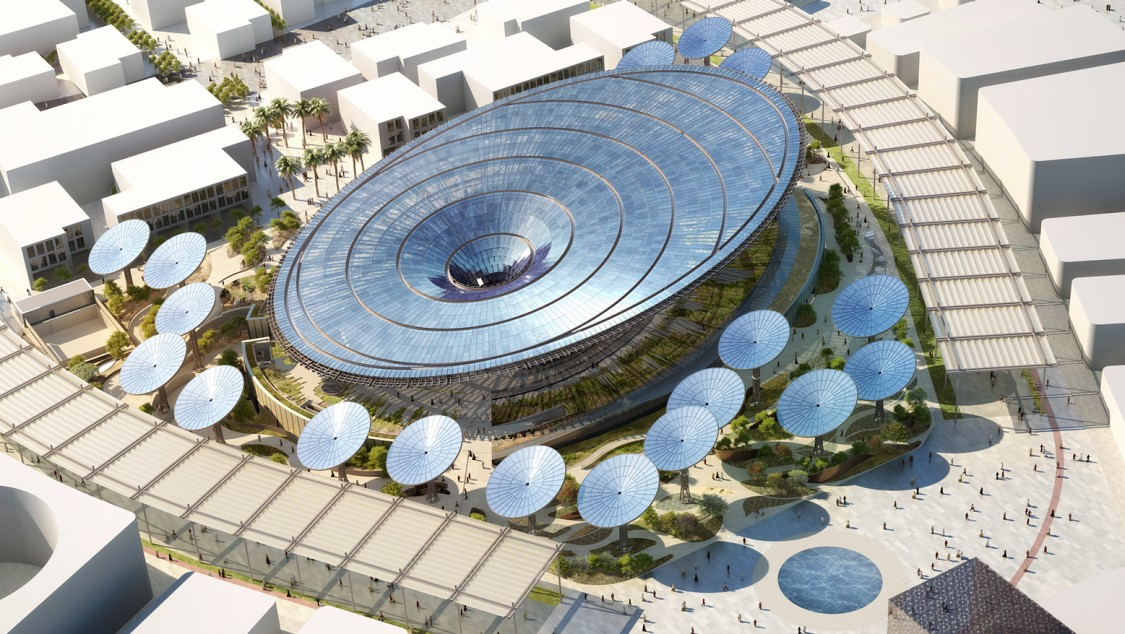 A visualization of the Sustainability Pavilion at Expo 2020 in Dubai.