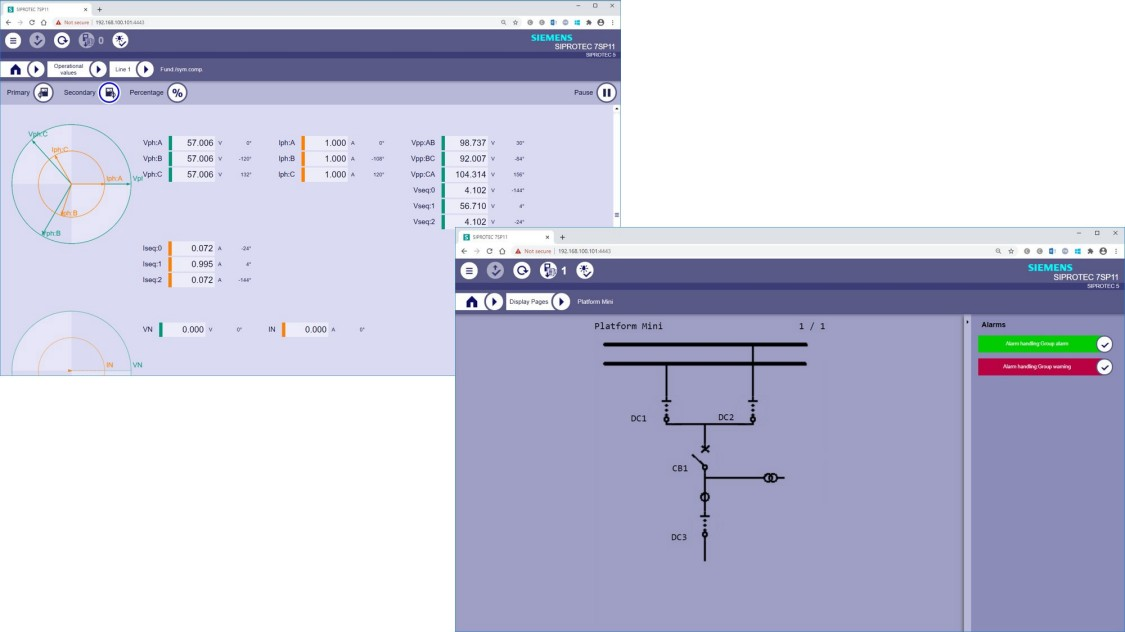 SIPROTEC 5 Web UI - Vector diagram and single line