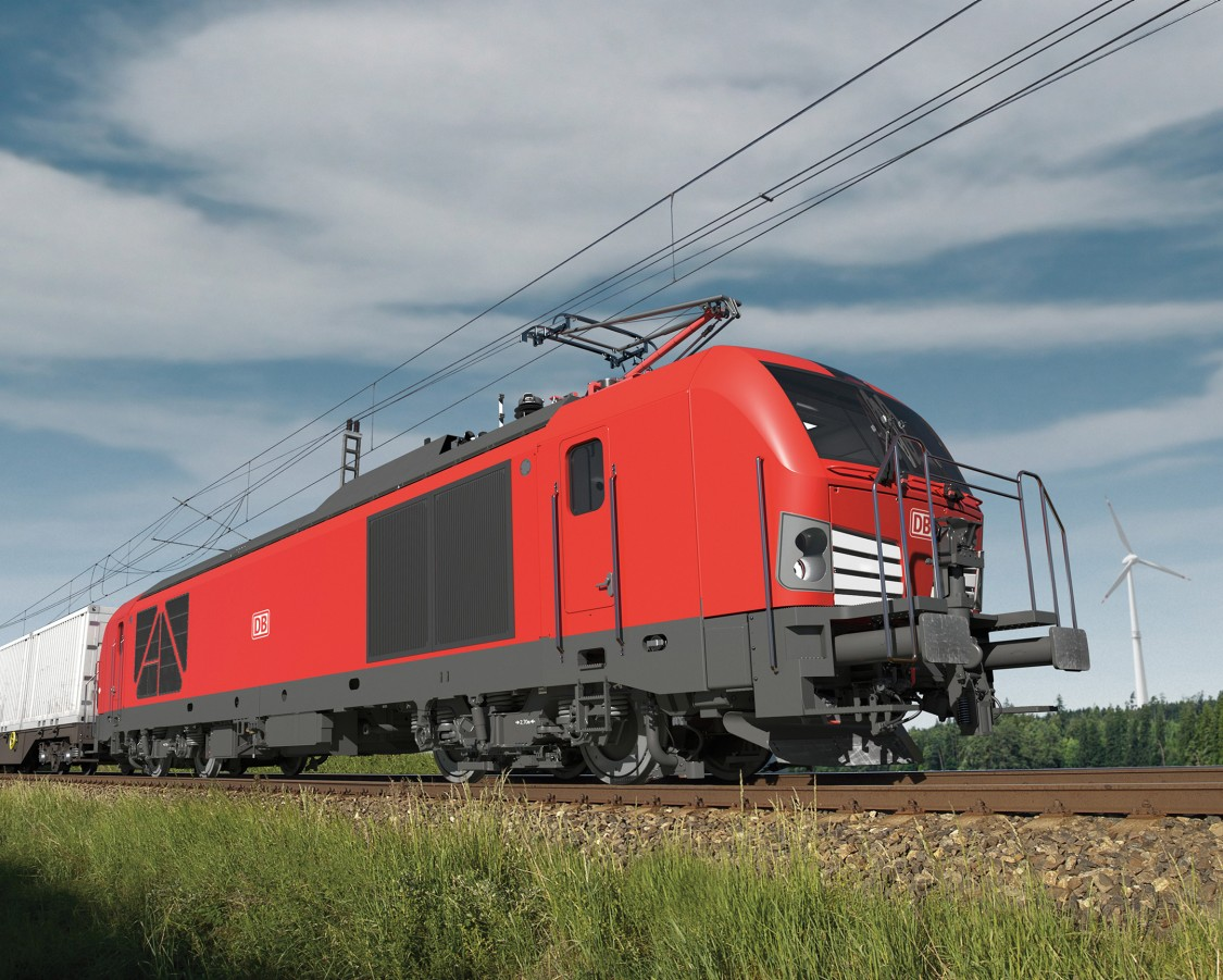 Picture of a Siemens Vectron Dual Mode light with shunting platform in red DB Cargo design.