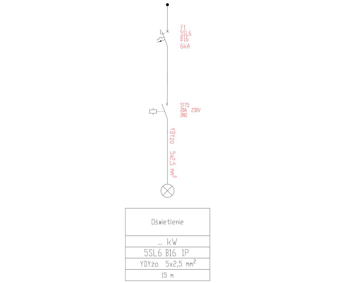 Schemat z wyłącznikiem 5SL i stycznikiem do sterowania oświetleniem