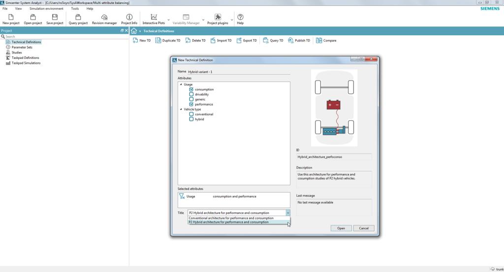 Simcenter System Analyst bietet eine Auswahl an Architekturen für die multi-attributive Analyse.