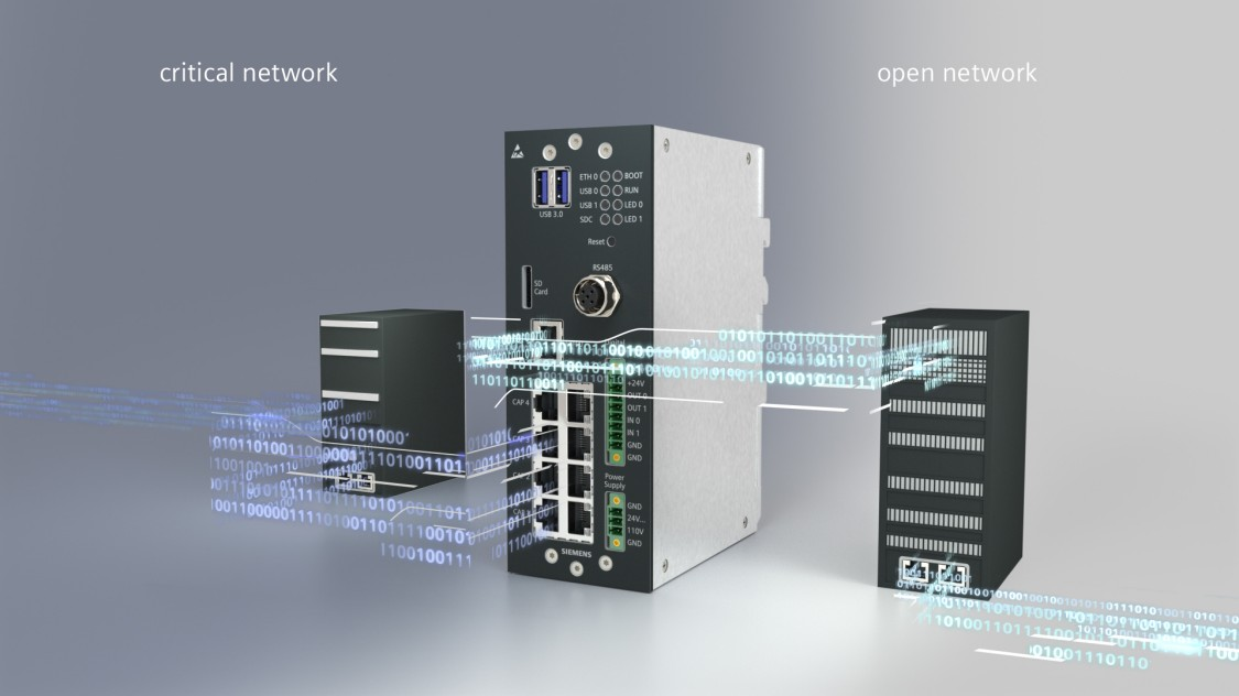 A product shot of the Siemens Data Capture Unit (DCU) with digital graphic elements such as binary code provides an answer to the challenges posed by the digitalization of mobility
