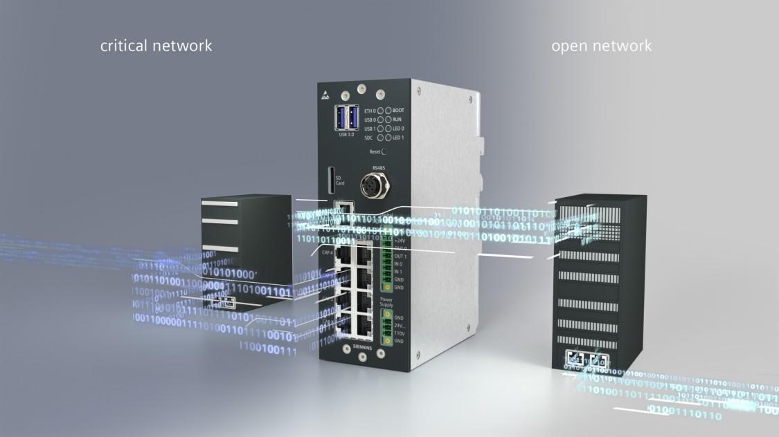 Ein Produktfoto der Siemens Data Capture Unit (DCU) mit digitalen Grafikelementen, wie dem Binärcode, gibt eine Antwort auf die Herausforderungen der Digitalisierung der Mobilität