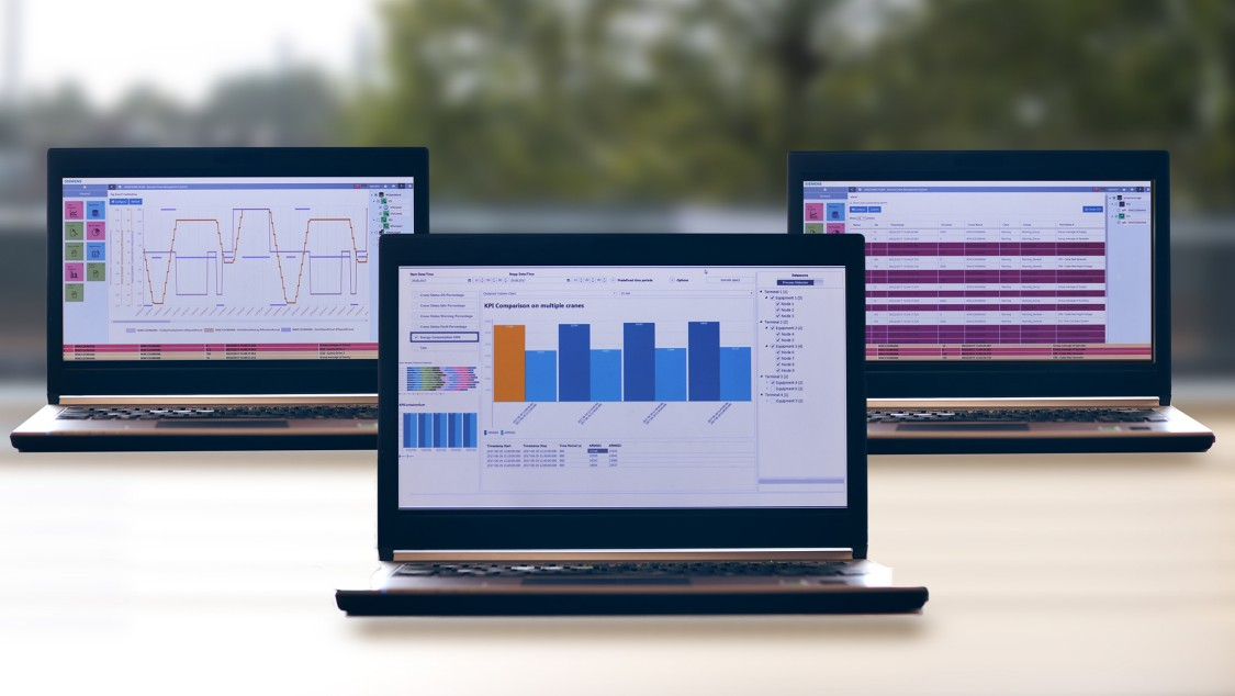 Three laptops with the RCMS user interface on the screen