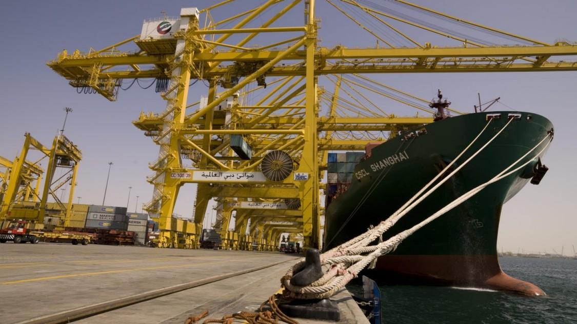 Harbor cranes at a port