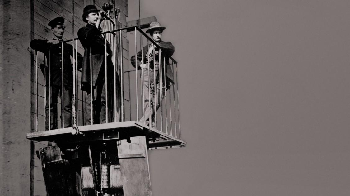 Первый электрический пассажирский лифт на промышленной выставке Пфальцгау в Мангейме, 1880 год