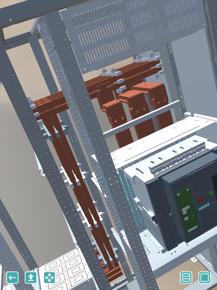 Rys. 1.: Przykład oszynowania rozdzielnicy Sivacon w modelu 3D.