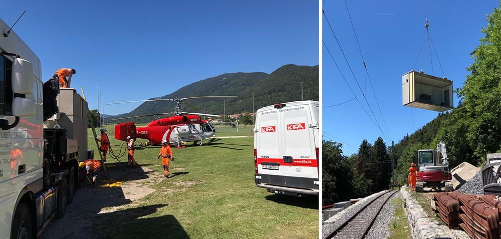 Stellwerkskabine mit Helikopter transportiert