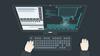 Grafik von einem Bildschirm mit Tastatur.