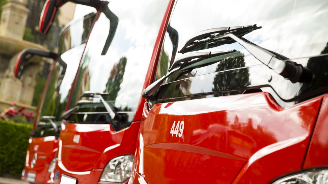 Red london buses in a row