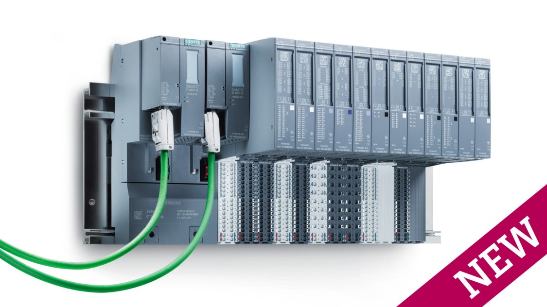 Die dezentrale Peripherie SIMATIC ET 200SP HA auf weißem Grund mit zwei angeschlossenen PROFINET-Kabeln.
