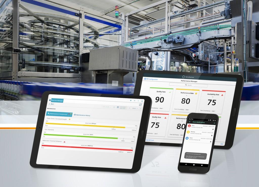 Das Bild zeigt die Siemens-Apps Simatic MindApps Machine Monitor, Notifier und Performance Monitor.