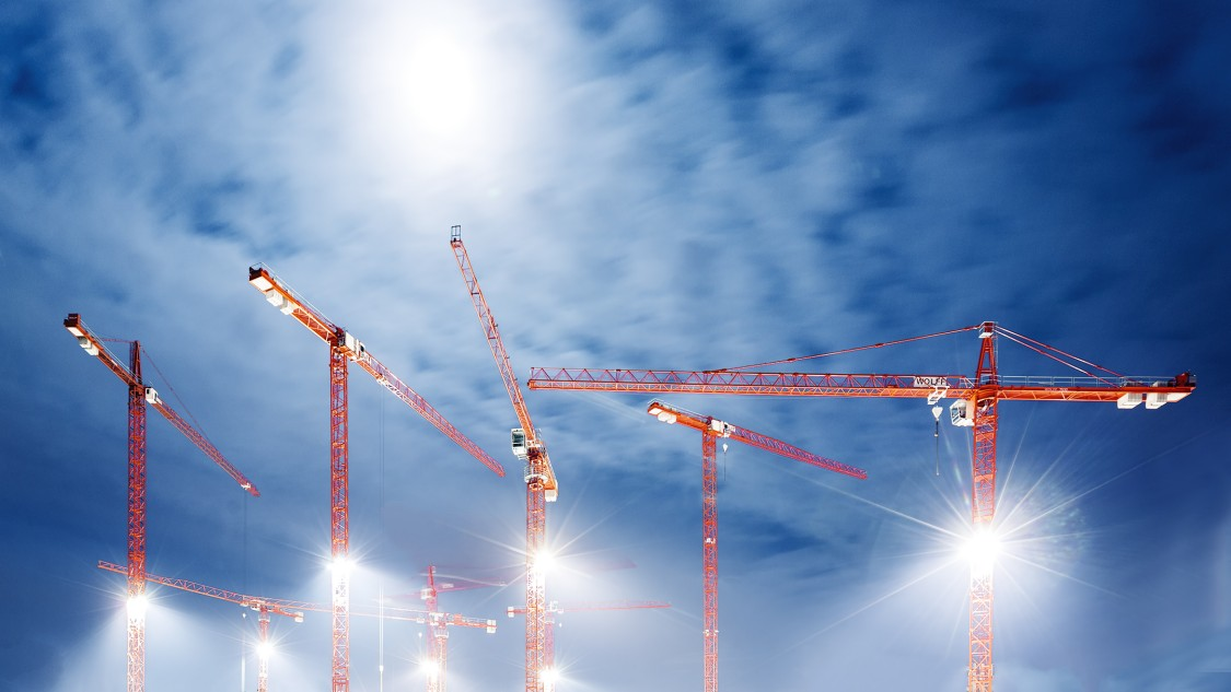 Cranes at a construction site