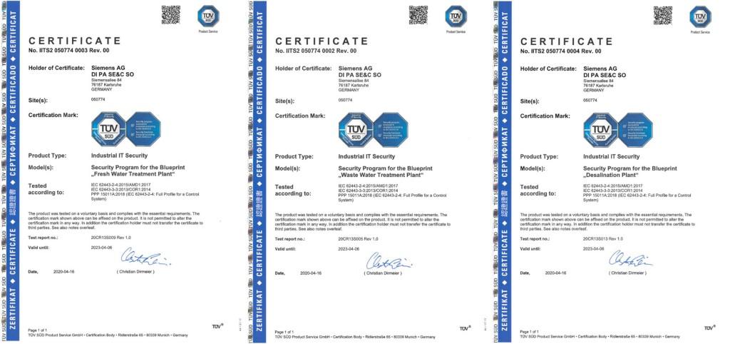 TÜV-Zertifizierungen für Siemens-Prozessleittechnik in der Wasser- und Abwasserbranche