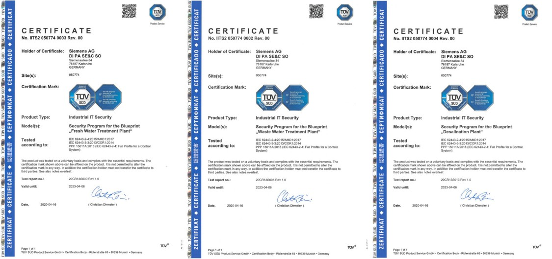 TÜV SÜD certifications for Siemens process control systems in the water and wastewater industry