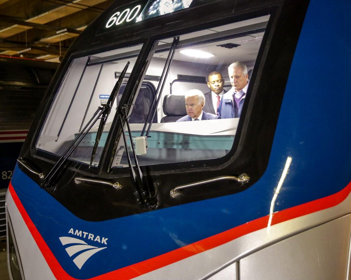 Photo of United States President Biden inside an Amtrak train
