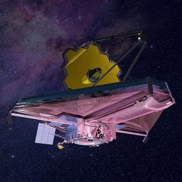 Künstlerische Darstellung des JWST in der Umlaufbahn mit dem Teleskopspiegel und dem zugehörigen Sonnenschutz (Copyright: Northrop Grumman)