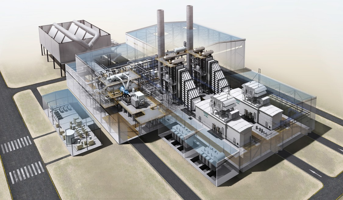 Model showing the new, highly efficient combined cycle power plant that Siemens Energy is going to build in a resembling form at the Marl Chemical Park
