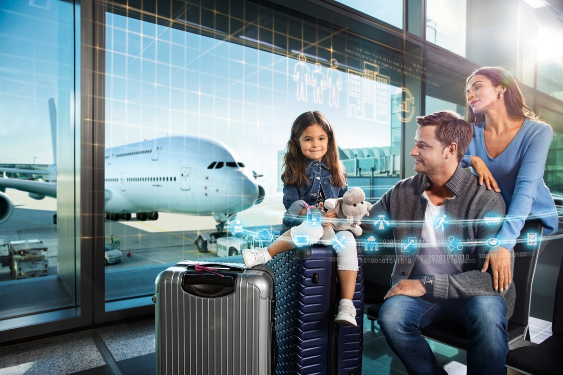 Image of family at airport with digital layer for fire safety