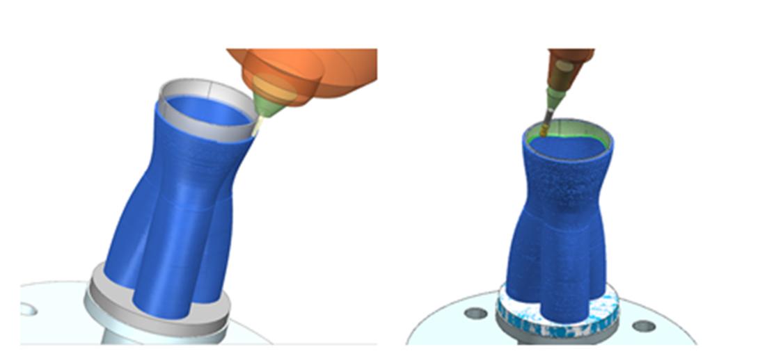 NX Hybrid Additive Manufacturing kombinerar 3D-utskrifter (metalldeponering) och CNC-bearbetning i en och samma miljö.