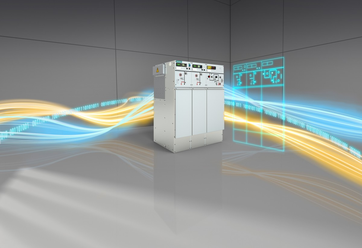 The picture shows the SF6-free medium-voltage switchgear 8DJH 12.