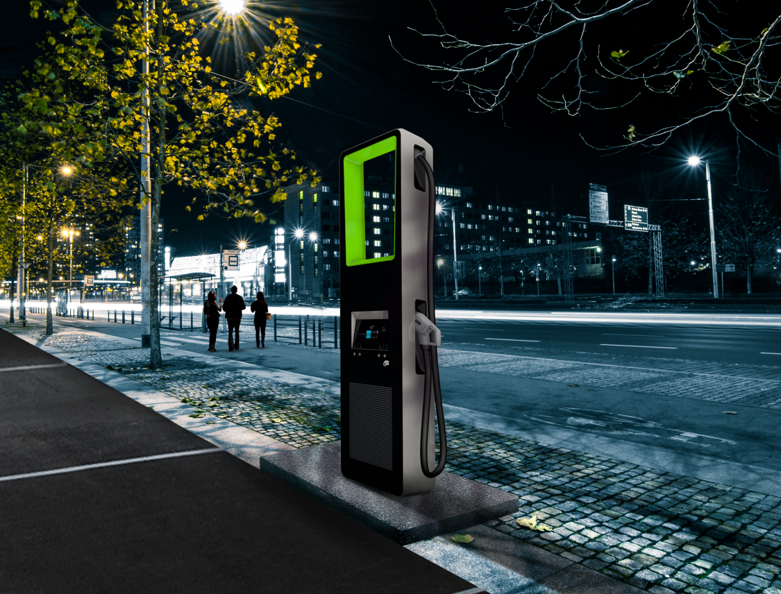 Siemens Ultra-Rapid Electric Vehicle Charger on street