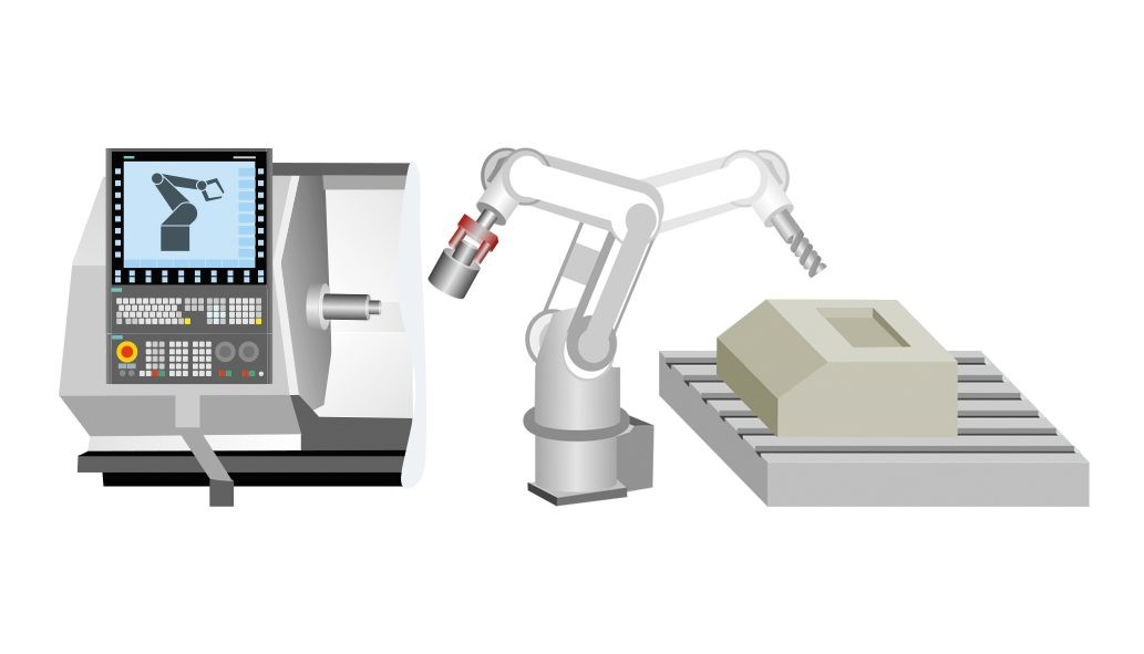 Sinumerik Run MyRobot /Direct Control allows to integrate the mechanic robot model in the Sinumerik CNC. As a result, no additional robot controller is required.