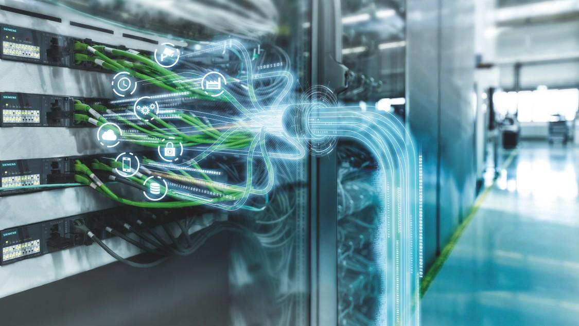 Stilisierte Darstellung einer Ethernet-basierten Netzwerks mit Time-Sensitive Networking (TSN).