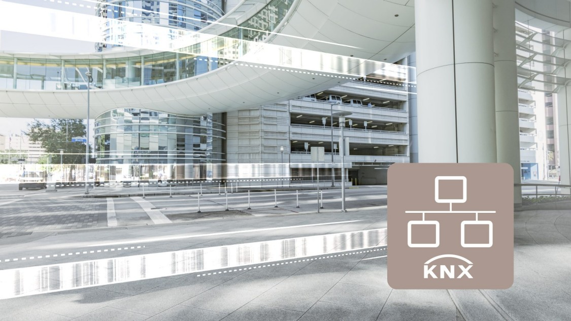 KNX icon with building in background