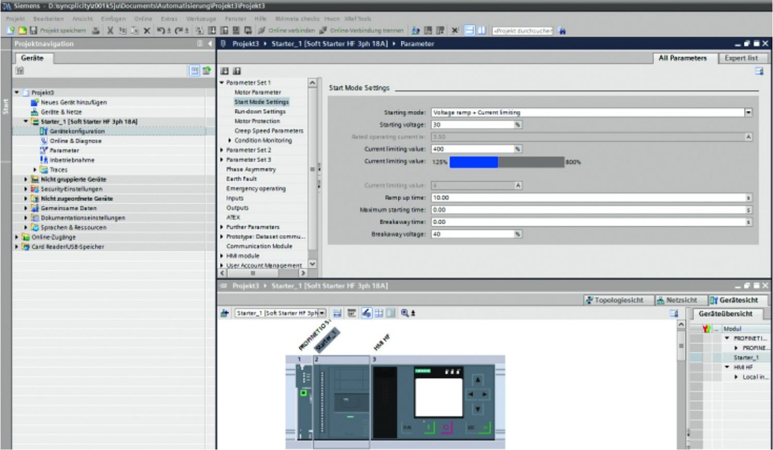 Siemens SIRIUS Softstarter ES – parametrisatie, monitoren, diagnostiek - TIA Portal