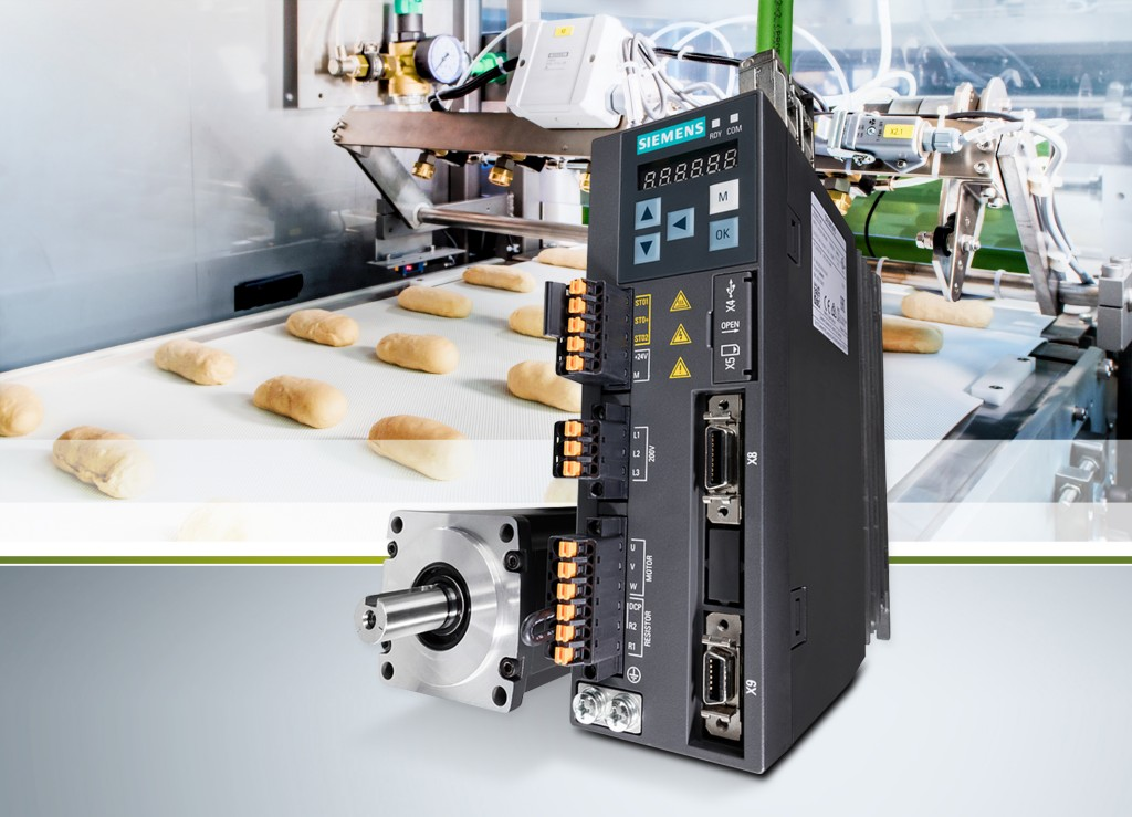 The picture shows the SINAMICS V90 Basic Servo Drive System from Siemens.