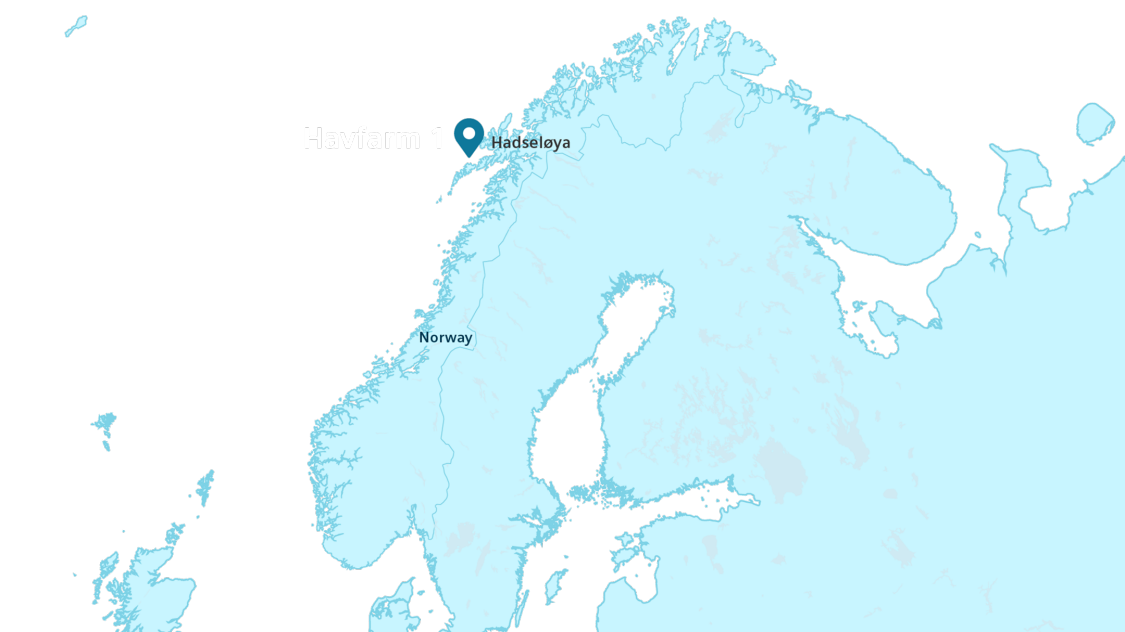 Havfarm 1 is located in Hadseløya, norway