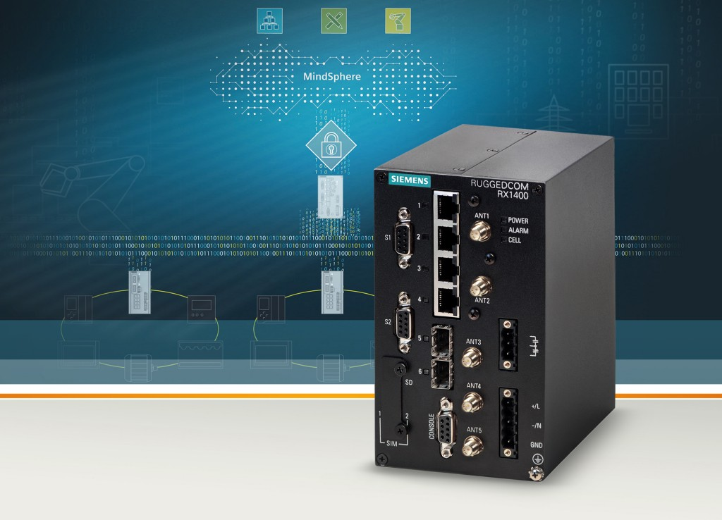 The picture shows the router Ruggedcom RX1400 with MindConnect from Siemens.