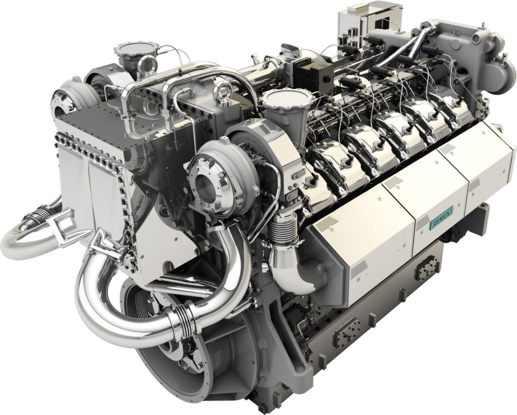 Das Bild zeigt einen Gasmotor der E-Serie mit einer Leistung bis zu 2 Megawatt.