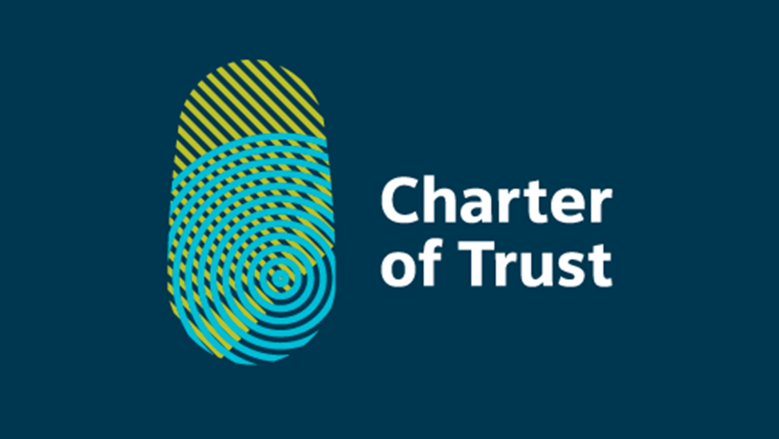 A sytlized fingerprint forms the Charter of Trust logo