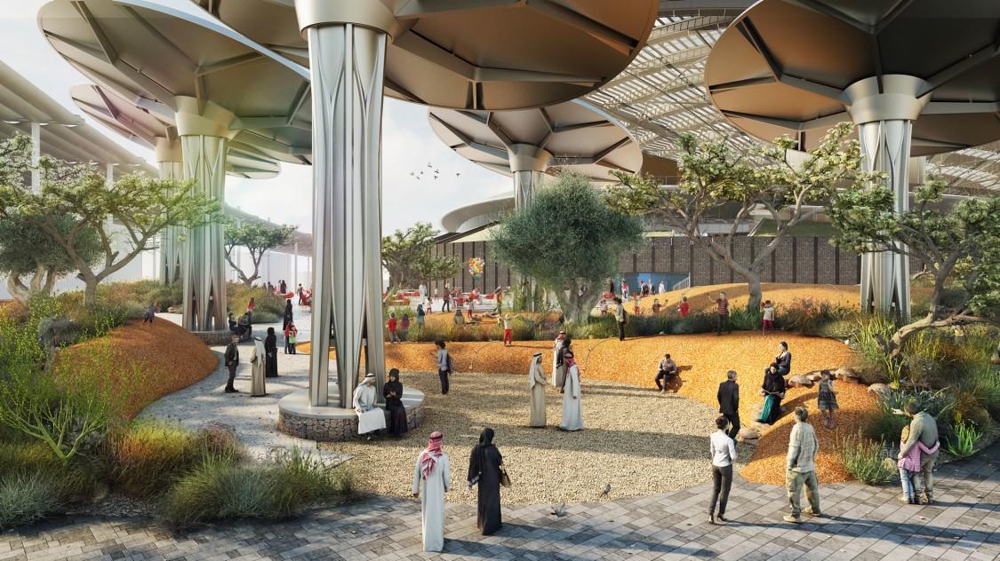 Darstellung der Außenansicht des Nachhaltigkeits-Pavillons für die Expo 2020.